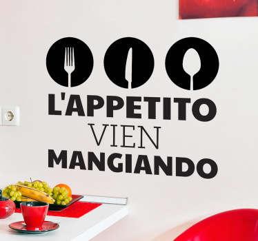 Se adori la cucina italiana e la sua lunga tradizione, questo adesivo murale é l'ideale per la tua cucina.
