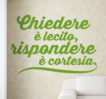 Sticker decorativo proverbio chiedere