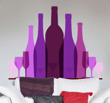 A modern and original feature of a collection of purple and pink wine tone bottles. Design from our collection of purple wall stickers.