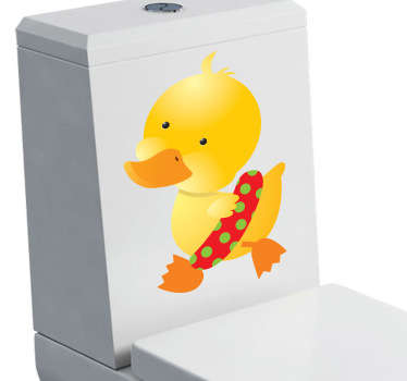 A superb yellow duck decal to decorate your bathroom! A small duck getting ready to swim with its red float with green polka dots.