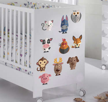 Kids Wall Stickers - A set of 24 adorable animals. The animal wall stickers are perfect for a child´s bedroom or nursery. Anti-bubble vinyl.