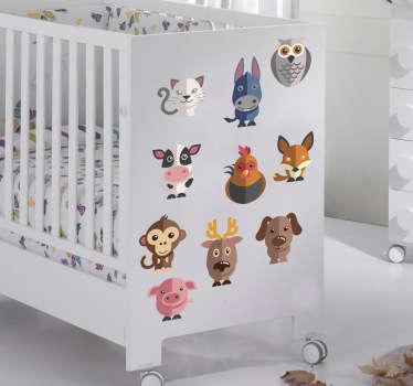 детские настенные наклейки - набор из 24 очаровательных животных. наклейки на стене животных идеально подходят для детской спальни или детской. анти-пузырьковый винил.