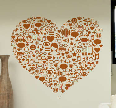 A heart wall art illustration created from various icons in connection to social media. A distinctive feature great for the home or business