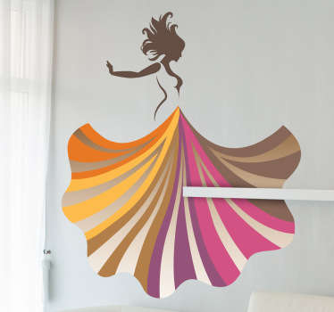 Decals - Elegant artistic silhouette design of a dancing female in a colourful dress. Distinctive and beautiful feature to brighten up a room.