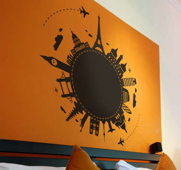 Decals - Original silhouette of a planet with various famous landmarks from around the world. Available in various sizes and 50 colours.