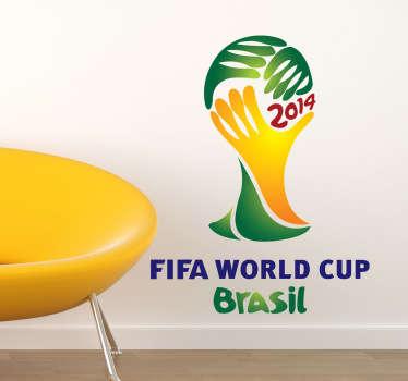 Emblema característico en adhesivo del mundial de balompié que se celebra en el país carioca.