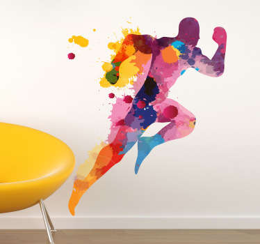 Colourful silhouette wall sticker of an athletic running man, ideal for adding colour to dull walls. Distinctive feature to brighten up any wall in your bedroom, living room, dining room, teen's room and more!