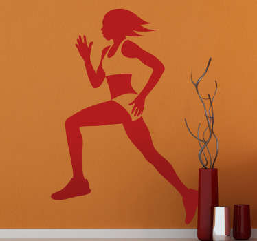 Wall Stickers-Silhouette illustration of a female runner with short hair. Long lasting decals made from high quality vinyl