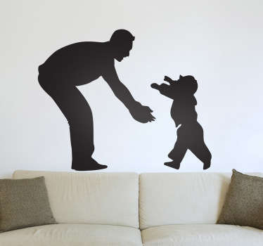 A silhouette outline illustration of a toddler running into the arms of his father. A magnificent family wall art sticker.