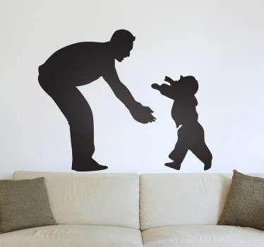 Autocollant mural père et fils