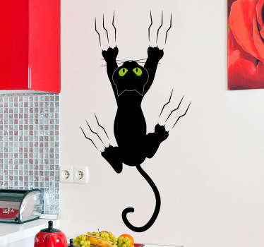 A great cat wall sticker to decorate your kitchen! Add a touch of originality to your home with this clinging black cat with its claws.