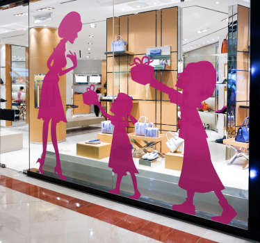 A silhouette outline illustration of two daughters presenting their mother with gifts. Brilliant family wall art sticker!