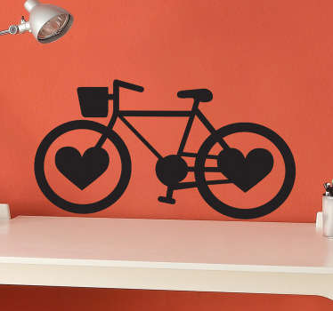 Bike decals - A fantastic bike wall sticker for those who love to cycle! The bike decal has love hearts for wheels and is a unique design.