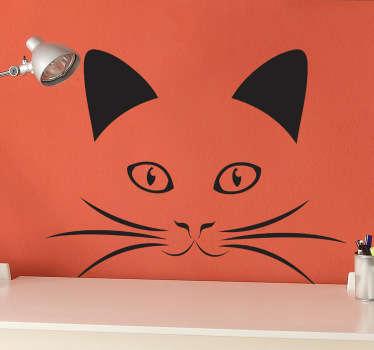 Autocollant mural chat moustaches