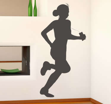 Wall Stickers - Silhouette illustration of a female jogging listening to music. Decals made from high quality vinyl
