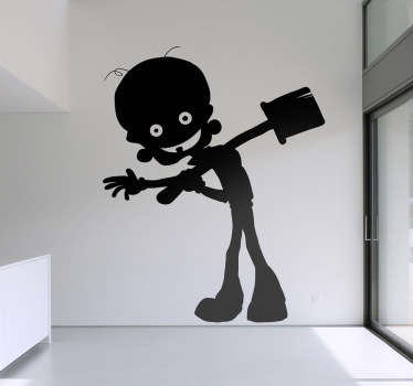 Vinilo decorativo dibujo zombie risa