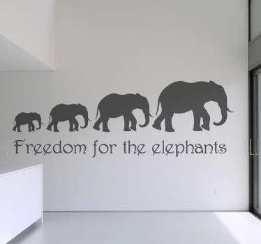 Sticker mural freedom for elephants