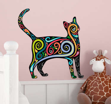 Stylish multicoloured cat wall sticker to add a touch of colour and personality to your bedroom, living room or dining room. This delightful decal shows the silhouette of a cat with interesting colourful swirls around its body.