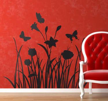 Sticker decorativo prato con farfalle