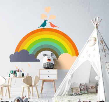 Adesivo bambini uccellini su arcobaleno