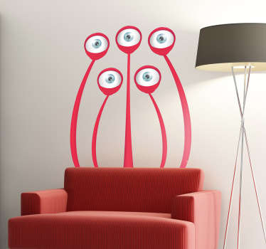 A design illustrating a not-so-scary monster with five eyes from our collection of monster wall stickers for children.