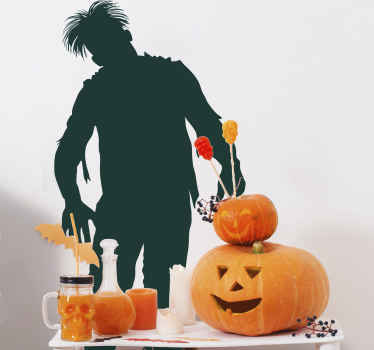 A scary sticker of a zombie that is coming for you... Run away as fast you can!