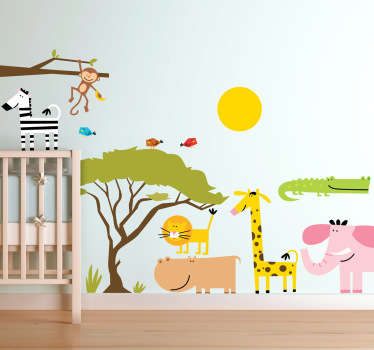 джунгли животные дети наклейка
