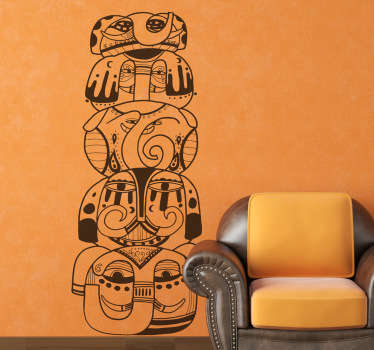 Autocollant mural totem animaux