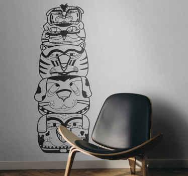 Sticker mural totem indien
