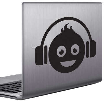 Sticker pc portable dj smiley