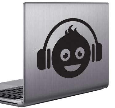 Sticker laptop vrolijke jongen koptelefoon