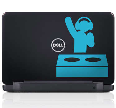 Sticker pc portable dj pictogramme