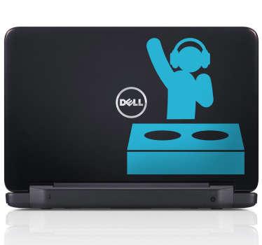 Sticker pc portable dj pictogramme