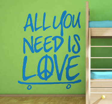 "Wall Stickers - ""All you need is love"" text design. Fill your space with positivity and peace. Available in various sizes and in 50 colours."