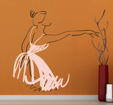 A sketch of a ballerina with her pink tutu. Brilliant dance wall sticker to personalise your room and dance in the right atmosphere.