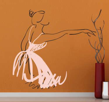 Autocollant mural croquis ballerine