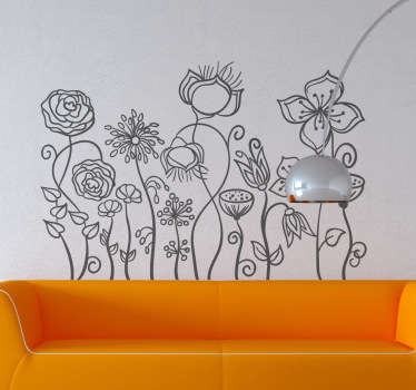 Floral Drawn Illustration Decal