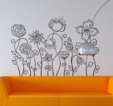 Autocollant mural parterre fleurs