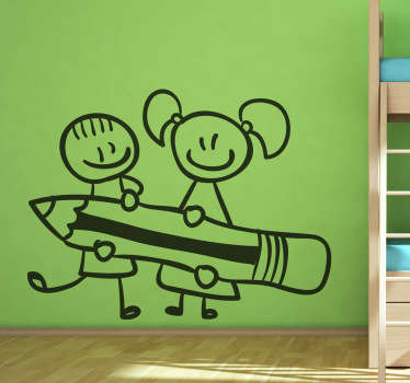 Kinder mit Bleistift Aufkleber