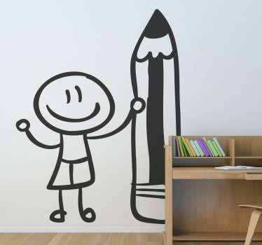 Student cu autocolant pe perete