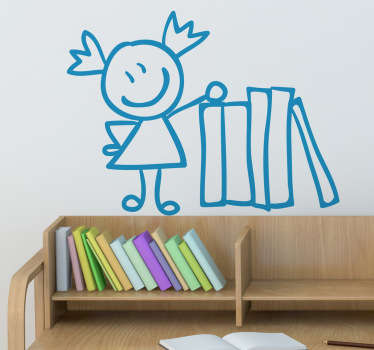 Sticker decorativo bimba con libri