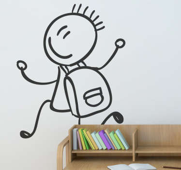 Wall stickers for school collection - A creative wall sticker drawing illustrating a happy little boy running with this school bag!