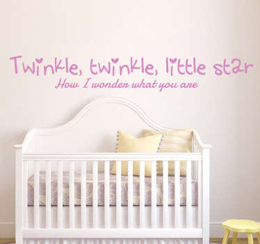 Kids Wall Stickers - Wall quote art ideal for the nursery. Available in 50 colours and in various sizes.