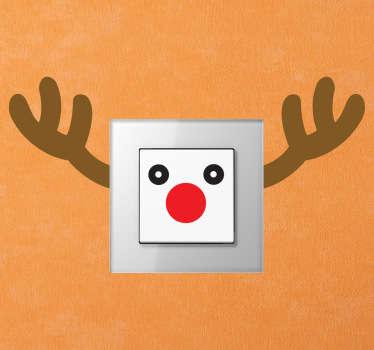 Sticker schakelaar Rudolf hert kerst
