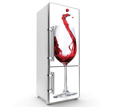 Kitchen Stickers - Simple fridge sticker ideal for wine lovers. Stunning design of a wine glass with red wine being poured in with a white background.