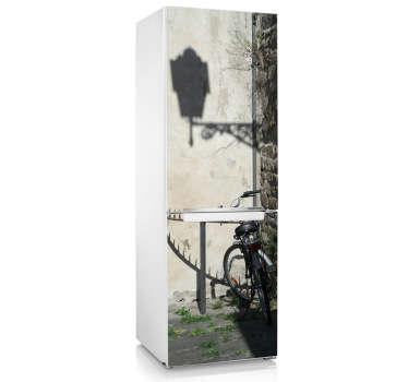 Sticker koelkast fiets straat