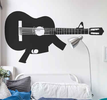 An original and unique illustration of a machine gun guitar from our collection of guitar wall art stickers to give your home a new look!