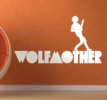 Adhesivo monocolor con el característico logotipo de esta exitosa banda.