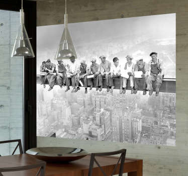 Lunch atop a Skyscraper wall mural sticker to decorate the dining room, bedroom or living room. Decorate your home with this classic 1932 black and white photo of the New York workers fearlessly having lunch on a crossbeam with their feet dangling 260 meters above the New York City streets.