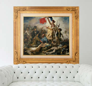 """Liberty Leading the People""; the famous painting by Eugene Delacroix in an easy to apply sticker to place anywhere in your home."